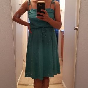 Vintage teal polyester sun dress